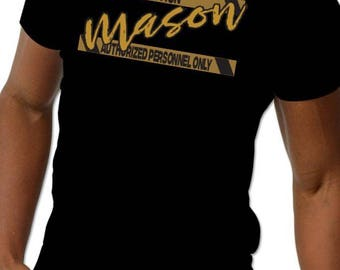 Mason caution Screen Printed T Shirt