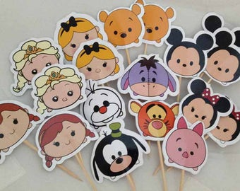 Mickey and Friends Tsum Tsum Cupcake Toppers with Stick Topper with stick Set of 18 Custom Made
