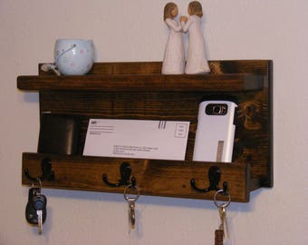 Rustic Entryway Organizer with Shelf