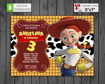 Printable invitation Jessie Cowgirl in PDF with Editable Texts, Jessie Toy Story party Birthday Invitation, edit and print yourself!