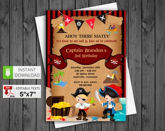 Printable invitation Pirate boy party in PDF with Editable Texts, Cute Pirate boy birthday Invitation chalkboard, edit and print yourself