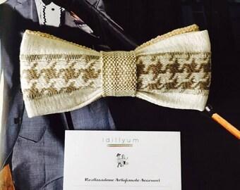 PAPILLON Idillyum, Pied de Poule beige insert and worked base, striped motif, Bow Tie Men Adjustable Men's Strap