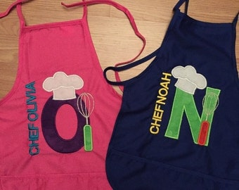 Child's Personalized Chef apron with 3 pockets. Will be customized to your liking.