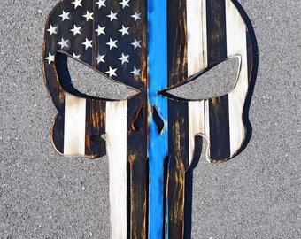 Blue Line Punisher Wood Logo