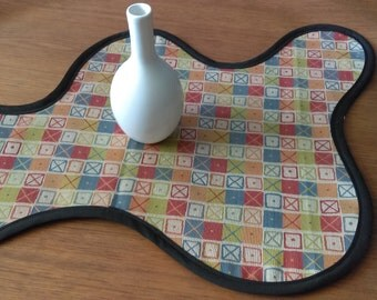 Modern TABLE RUNNER Eames Crosspatch Handmade Biomorphic  Mid Century Modern Accent