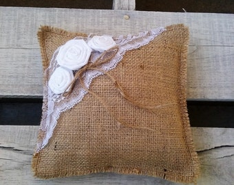 Burlap Ring Bearer Pillow, Ivory or White Lace and Rosette, Ring Pillow, Burlap Wedding Decor, Rustic/Shabby Chic/Barn/Country Wedding