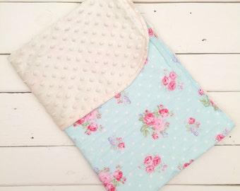 Blue and Pink Flower Minky Baby & Toddler Blanket, Minky Baby Blanket, Baby Minky Blanket, Blue Baby Blanket, Flower Baby Blanket