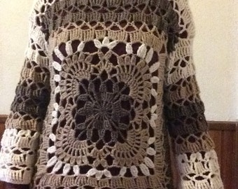 Openwork crochet sweater