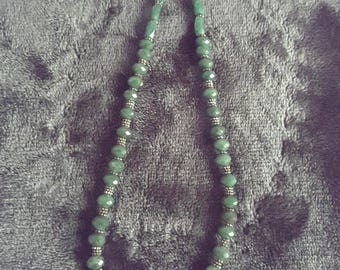 Faceted Green Aventurine and Sterling Necklace
