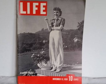 Vintage Life Magazine, November 13, 1939, World News Articles, Claudette Colbert, World War Two Articles, Old photographs, American Life