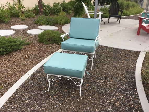 Beautiful Wrought Iron Vintage Chair and Ottoman Newly Powder Coated and New Custom Cushions