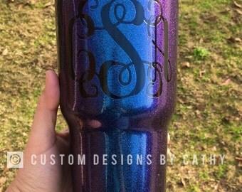 Monogram Glitter Chameleon Sapphire Powder Coated tumbler YETI RTIC OZARK