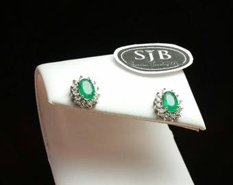 Emerald Studs, Emerald Earrings, Genuine Emerald, Oval Stud Earrings, Diamond Halo, White Diamonds, May Birthstone, 14kt White Gold, #E574