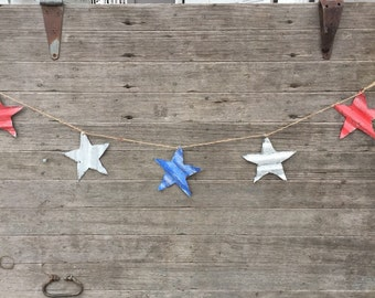 tin patriotic star banner, tin patriotic decor, tin stars, tin star banner, corrugated tin star banner, july 4th tin decor