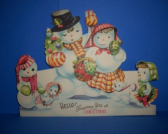 Vintage Unused Children's Christmas Card,  1940's, 1950's, Stand-Up, Fold-Out, 3-D, Jolly Cards, Snowman