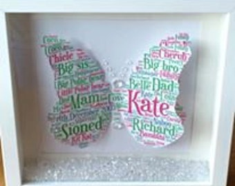 Beautiful 3d butterfly word art picture with crystal embellishments!,a truly personal gift for the mum,sister,nan or new baby in your life