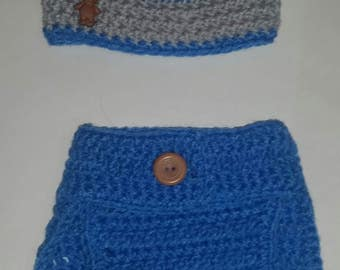 Hat and Diaper Cover Set