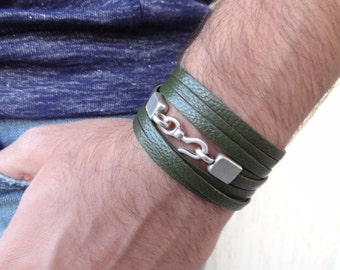 EXPRESS SHIPPING,Wrap Genuine Leather Bracelet,Olive Green Leather Bracelet,Multistrand Leather Bracelet,Women,Men Bracelet,Valentine's Gift