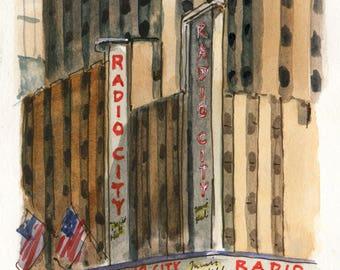 4x6 Original Watercolor Painting - Radio City Music Hall