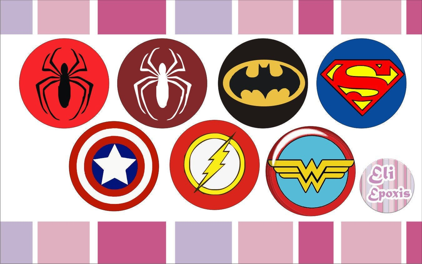 instant download printable kit printable superheroes logo stickers decorations from eliepoxis. Black Bedroom Furniture Sets. Home Design Ideas