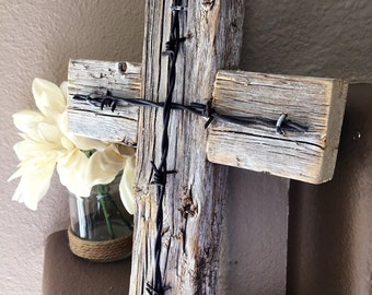 "Rustic Wooden Cross Decorative Cross Reclaimed Wood Barbed Wire Home Decor Wall Cross Measurements - 11 1/2"" x 8 1/4"""