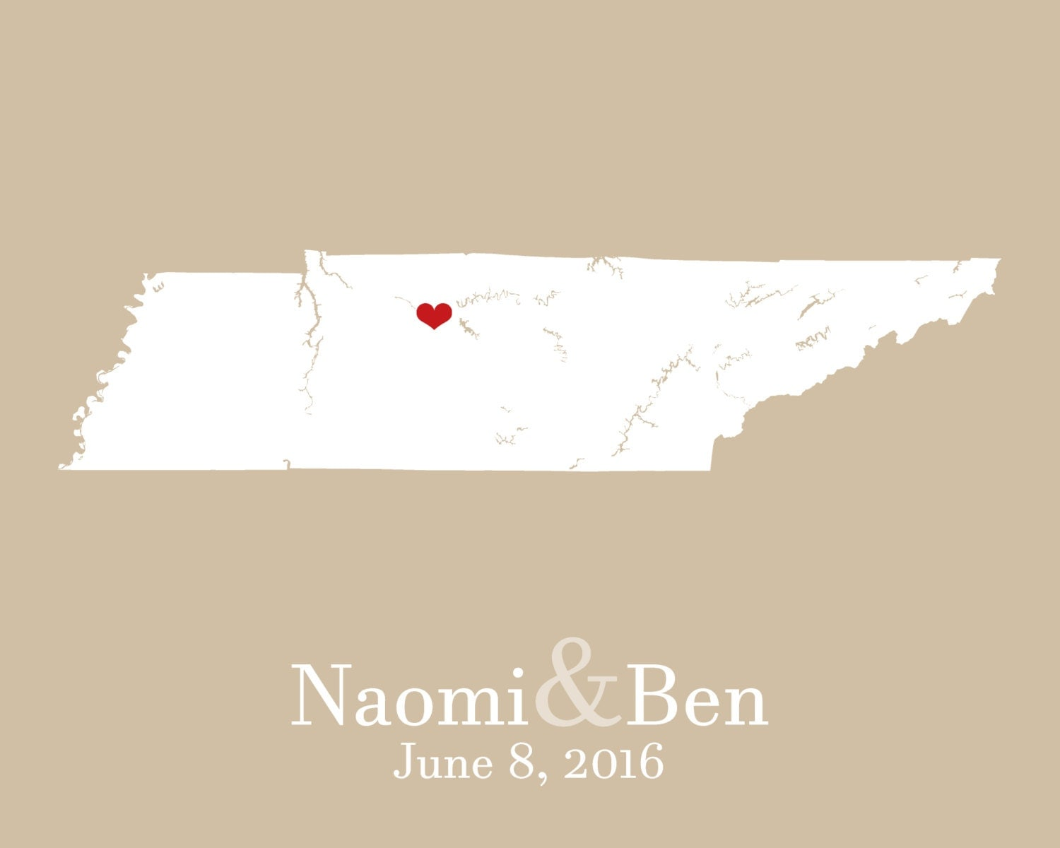 Wedding Shower Gift For Brother : Map of Tennessee Personalized Wedding Shower Gifts Brother