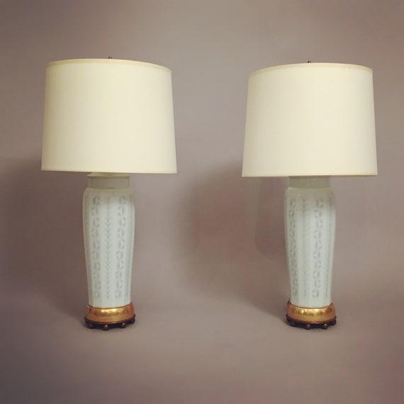 Midcentury hand painted Copenhagen porcelain table lamps