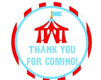 Printable Circus Thank You Tags | Circus Party | Circus Birthday Favor Tag | Circus Party Favors