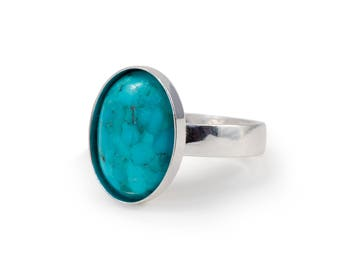 Mens Turquoise Ring, Oval, Mens Turquoise jewelry, Mens Ring, Adjustable Ring, Sterling Silver Ring, Gemstone Ring,  14x10 mm, gift for him
