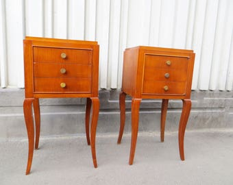 Pair of french art deco side tables or nightstands