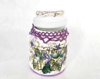 Decorative jar, wedding favours, keepsake jars, cosmetic holder, flower, flowers, purple, decoupage, recycled, reused