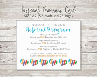 Rodan and Fields -  Referral Program - Printed Card