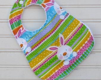 Bib - Baby Bib for Girl - Bunny Bib - Terry Baby Bib - Easter Baby Bib - Spring Bib