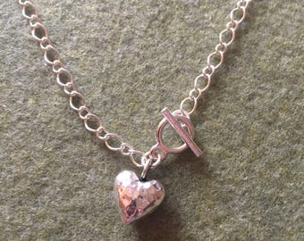 "28"" silver chain necklace with toggle clasp and heart charm"