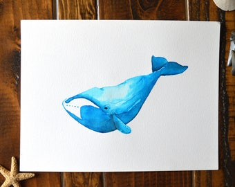 Bowhead Whale Watercolor Painting