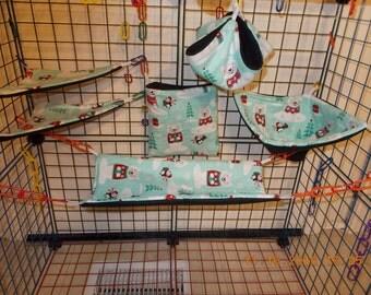 WINTER POLAR BEARS Sugar Glider 6 pc cage set