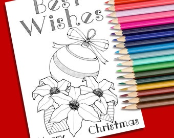 Xmas coloring page. Poinsettias and Christmas balls coloring page. Printable coloring page. Christmas printables. Coloring Greeting Card