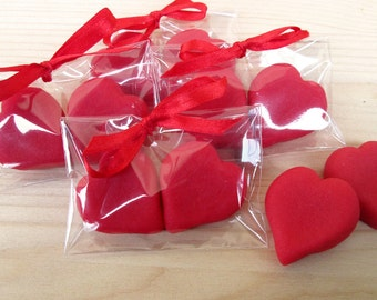Marzipan Heart Favor - heart shaped wedding favors- 3D edible heart favor- red heart -silk ribbon - Valentines wedding favors - heart favors