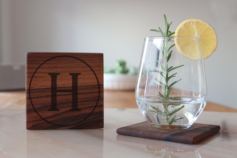 Monogram Coasters Custom Wood Coasters Drink Personalized