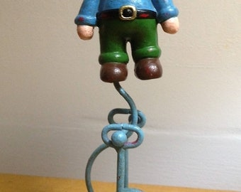 Small Collectibles Vintage Retro Cast Iron Balancing Boy with red Pirate Hat Toy