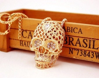 Extra Large Beautiful Skull Pendant & Chain Necklace With Moving Jaw