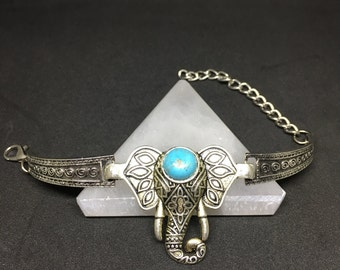 Elephant Charm Bracelet, Sterling Silver with simulated Turquoise