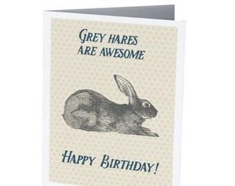 GREY HARES  |  Funny Birthday Card