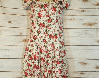 90's Rampage floral mini dress with cold shoulder straps, Extra Small