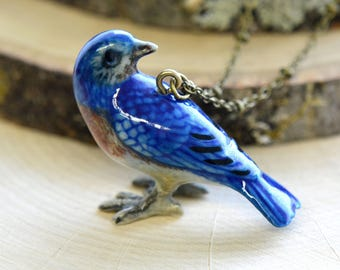 Hand Painted Porcelain Bluebird Necklace, Antique Bronze Chain, Vintage Style, Ceramic Animal Pendant & Chain (CA053)