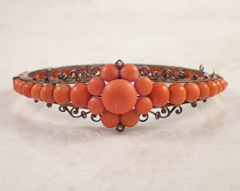 Victorian Silver Coral and Seed Pearl Bangle Bracelet