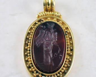 18k Yellow Gold Carnelian Intaglio Pendant