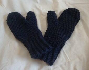 Crochet Mittens, Adult Mittens, Navy Adult Mittens, Navy Crochet Mittens, Blue Mittens, Adult Blue Mittens, Blue Crochet Mittens, Mittens