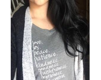 Fruit of the Spirit Tee | women's tee | religious shirt | Galatians | bible verse shirt | Christian shirt | *READ item details