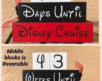 Disney Cruise Countdown Blocks Reversible Weeks Until/Days Until/countdown to Disney/Hand Painted/Disneyland/Disney World/Mickey/Minnie